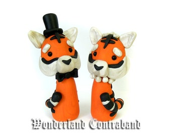 LAST CHANCE - Ready to Ship - Mr. and Mrs. Tiger - Wedding Cake Topper - Original OOAK Miniature Sculptures - Decor