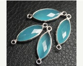 VALENTINE SALE 55% 1 Pair, Amazonite .925 Sterling Silver Pear Charms Bezel Finding,  22mm approx.  SKU7684