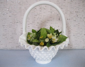 Hobnail Milk Glass Basket / Fuffled Edge White Basket
