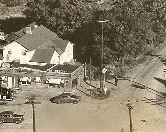 Vintage Black &White RPPC Birds Eye View ~ The Welcome Corners Welcome Ontario Texaco Gas Station