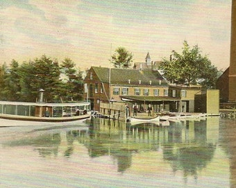 Gardner Massachusetts Vintage Postcard -  Old Boat House – Early 1910s Hugh C Leighton Publisher
