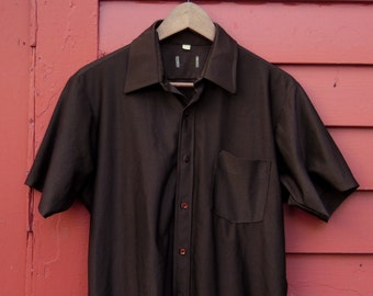 70s Foxy Dark Chocolate Short Sleeve Brown Button Up Mens M