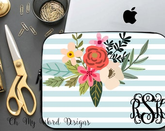 Monogram Laptop Sleeve-Stripes and Flowers Laptop Sleeve-Laptop Sleeve-Neoprene Laptop Sleeve-Stripes and Flowers