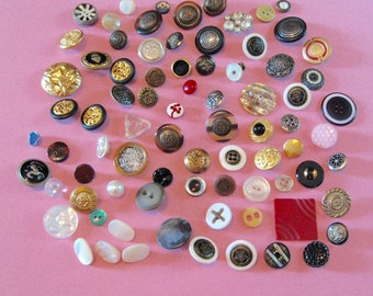 Over 75 Vintage  BUTTONS Variety of Colors Shapes Sizes Collecting Crafting Sewing
