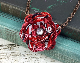 Dr Pepper Rose Necklace.  Recycled Soda Can Art.   Dr Pepper