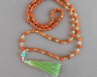 Mala Rudraksha 108 beads with tiny silver sterling bead  citrine and amazonite guru bead / 30 inches long