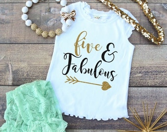 Five and Fabulous 5th Birthday Toddler Girls Birthday Girl Shirt Cap Sleeve White Frill Shirt Top - Gold Glitter Shirt - Birthday Photo Prop