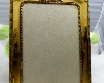 Tin or Metal Antique Frame Standing Metal Brass or Tin Picture Frame
