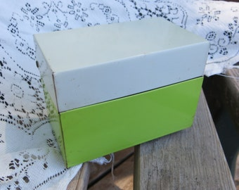 Vintage Recipe Box Metal Lime Green and White Index Card or Recipe Box Metal