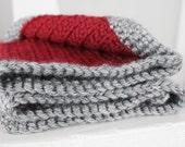 Crochet Doll Blanket Wine/Grey/Lavender 18 x 12