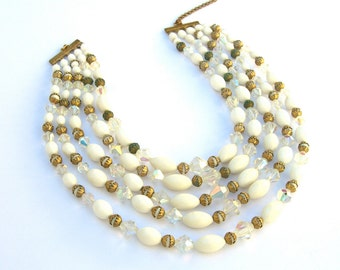 Vintage Necklace, 1950s 1960s White and Gold Multi Strand Beads Crystals, Retro Bridal Jewelry