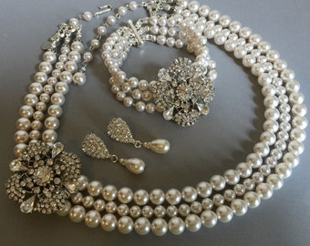 Complete Wedding Jewelry Set Necklace Bracelet Earrings  3 multi strands Swarovski Pearls and Rhinestone brooch bridal jewelry sets