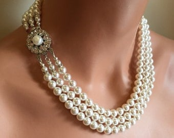 Bridal Pearl Necklace Set 3 strand with Earrings vintage style Jackie O 3 Multi Strand Swarovski pearls classic wedding jewelry traditional