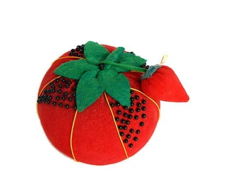 Big Red Tomato Pincushion Red Strawberry Needle Emery Vintage 1950s Sewing Pincushion & Emery, Collectible Sewing Fruit Form Pin Cushion