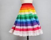 Rainbow Skirt M/L • Square Dance Petticoat Skirt • Tiered Skirt • Twirl Skirt • Square Dance Skirt • 80s Skirt • Full Midi Skirt | SK481