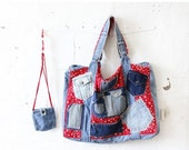 4 DAY SALE / Patchwork Denim Tote Bag • Large Tote Bag • Handmade Tote Bag • Art Teacher Bag • Bag with Pockets • Red Bandana Beach Bag | B4
