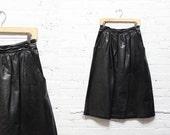 Black Leather Skirt S/M • Leather Midi Skirt • High Waisted Midi Skirt | SK375