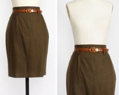Olive Green Skirt M • Pencil Skirt • Military Skirt • Green Wool Skirt • High Waisted Midi Skirt • United Colors of Benetton | SK457