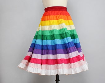 Rainbow Skirt M/L • Square Dance Petticoat Skirt • Tiered Skirt • Twirl Skirt • Square Dance Skirt • 80s Skirt • Full Midi Skirt | SK481