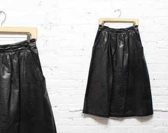 Black Leather Skirt S/M • Leather Midi Skirt • High Waisted Midi Skirt | SK375