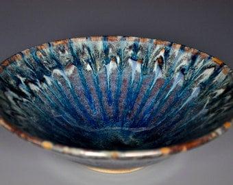 Blue Swirl Pottery Salad Bowl Ceramic Bowl Blue Green Serving Bowl CB