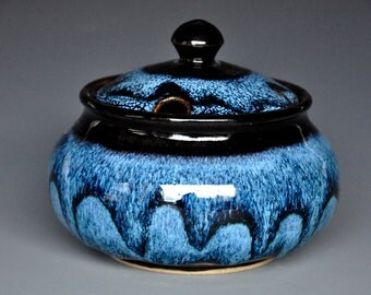 Turbulent Blue Pottery Sugar Bowl Jar Stoneware Sugar Bowl Ceramic Sugar Bowl Pottery Handmade Jar D