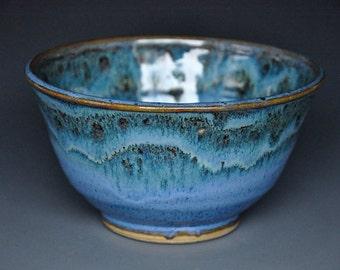 Blue Pottery Bowl Ceramic Bowl Handmade Stoneware Bowl
