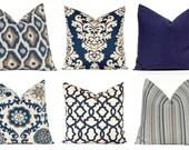 Euro Sham, Home Decor, Decorative Throw Pillow Cover, Navy and Linen, One Pillow Cover, Navy and Aqua on Linen, Sofa Pillows,
