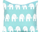 Decorative Throw Pillow - Aqua with White Elephants - Nursery Decor - Baby Nursery Decor - Turquoise Pillow Covers - Children's Pillow
