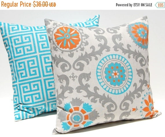 SALE Decorative Throw Pillow Covers Turquoise, Orange and Gray on Natural Greek Key and Suzani 16 x 16 Inches Accent Pillows Cushion Covers