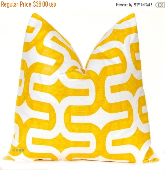 SALE Yellow Pillow Cover -  Decorative Throw Pillow - Yellow Embrace - Yellow Cushion Cover - Yellow and White - Sofa Pillow