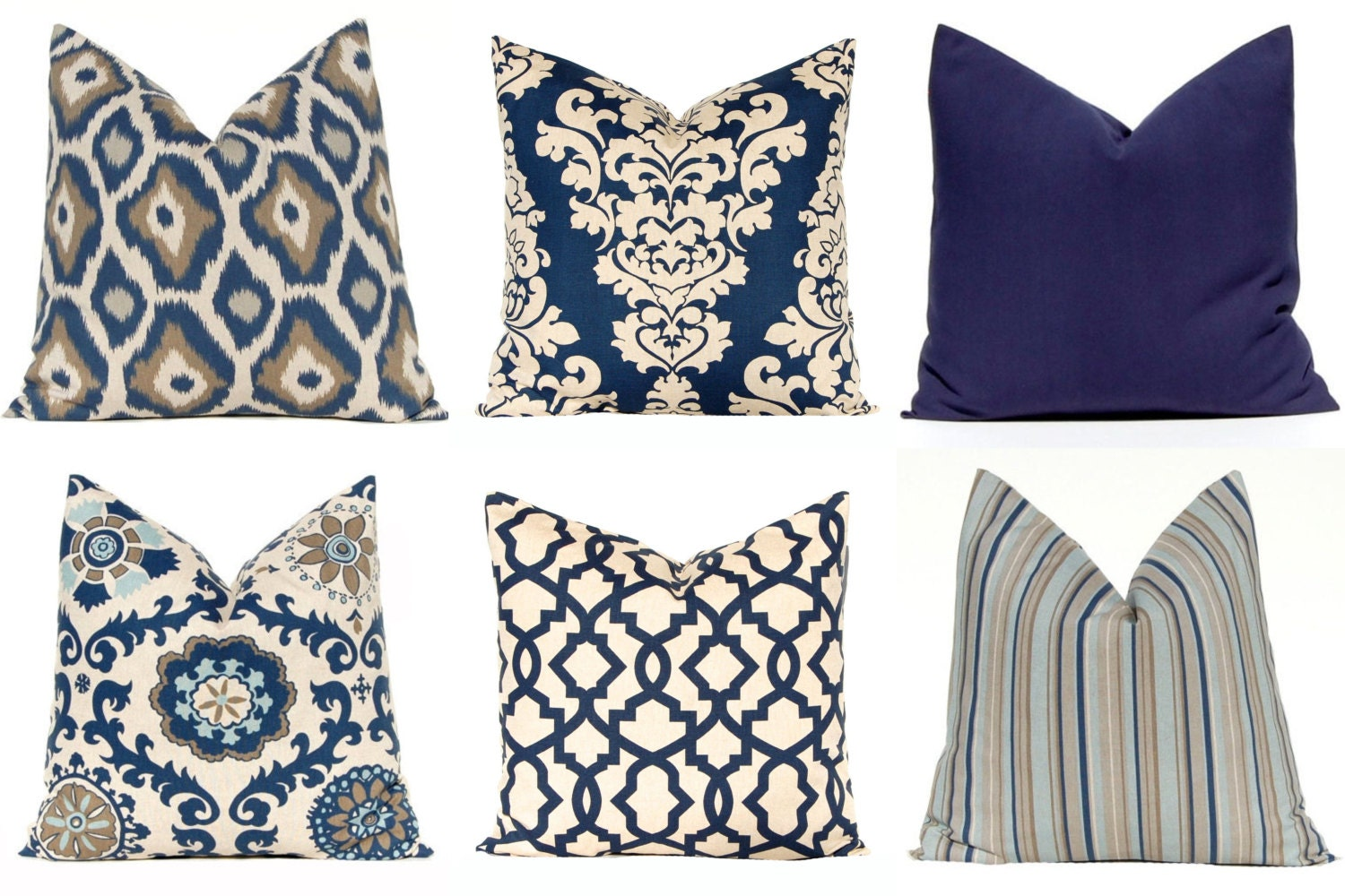 Decorative Living Room Pillow Covers : Indigo Blue Pillow Cover Euro Pillow Sham Navy Blue Throw