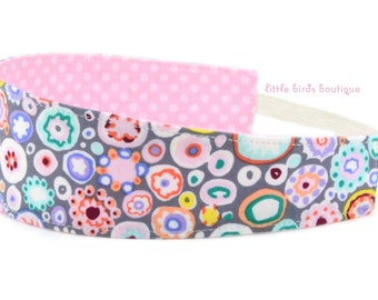 Reversible Fabric Headband- Children Toddler in Kaffe Fassett, Pastel, Paperweight, Circles, Grey, Pink, Purple