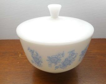 Vintage  Casserole Dish with Lid, Blue Flower Pattern