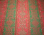 """Souleiado Red and Green Damask Stripe NOS French Upholstery Weight Fabric Piece - 56"""" Wide by 62"""" Long"""