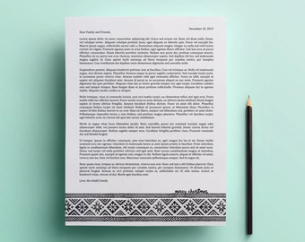 Printable Christmas Letter template - .docx downloadable template, holiday card, christmas card, microsoft word template