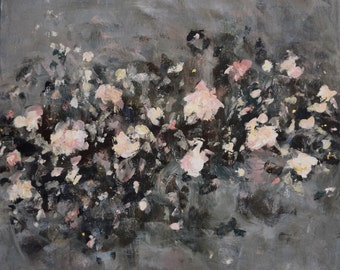 Large Abstract Painting Flower Painting Large Art Colorful  gray neutral painting The Song Itself 30 x 30   Swalla Studio