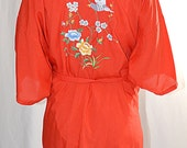 Vintage Asian Chinese Hand Embroidered Red Cotton Robe Blue Bird Cherry Blossoms Peonies Sz M/48 Inch Bust
