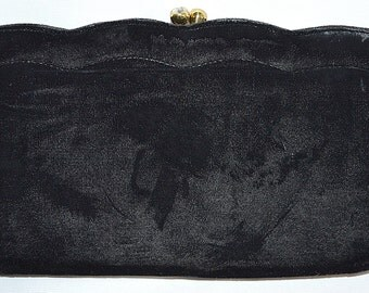 Vintage 1950s Black Velvet Clutch Evening Bag With Orig Mirror Comb Lipstick Coin Purse Rhinestone Clasp INGBER