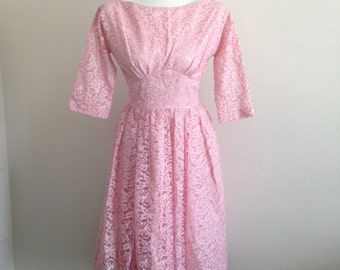 SALE!** Stunning 1950's Pink Lace Handmade Dress- Cinched Waist- Boat Neck- Coctail Dress- Prom Dress- Ball Gown- Party Dress