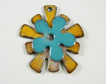 Stacked turquoise and Yellow  Enameled Center Drilled Jewelry Components