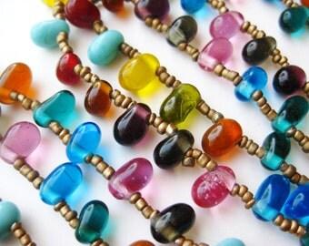 "Vintage Czech Glass Teardrop Bead Chain Art Deco Flapper 42"" Long Necklace"