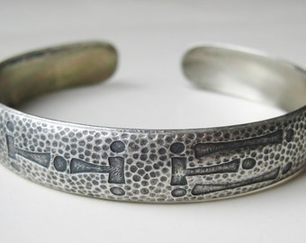 Vintage Camp Fire Girls Wohelo Hammered Sterling Silver Cuff Bangle Bracelet