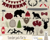 Lumberjack Party Clip Art, Lumberjack Plaid Clipart, Woodland Clipart, Red Flannel Clipart, Lumberjack Birthday, Commercial Use