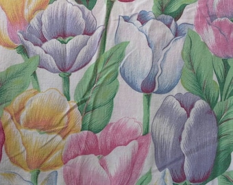 Colorful Tulips Reclaimed Cotton Polyester Fabric Over 2 yards X0432