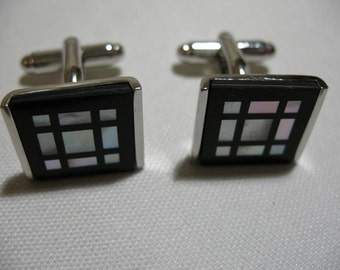 Silver Tone Cuff Link with Mother-of-Pearl and Black Enamel