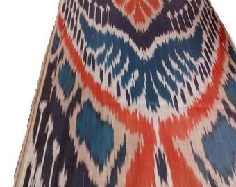 Uzbek cotton ikat fabric Adras. F005