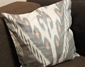 Gray cotton ikat pillow case, cushion. Decorative pillow