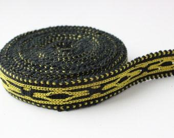Uzbek yellow-black cotton woven trim Jiyak. Ethnic Boho, Tribal trim