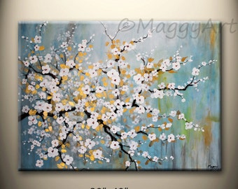 Cherry blossom, textured, large original painting, 30x40inch on stretched canvas, ready to hang